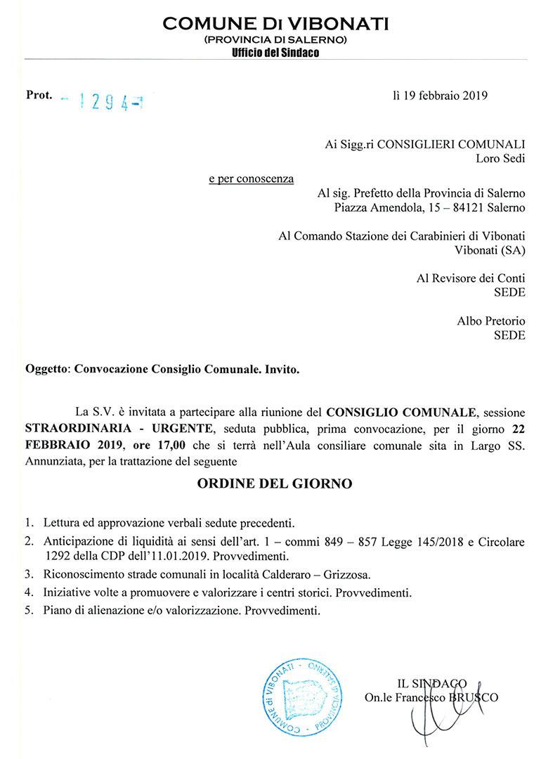 Comune di Vibonati: convocazione Consiglio Comunale