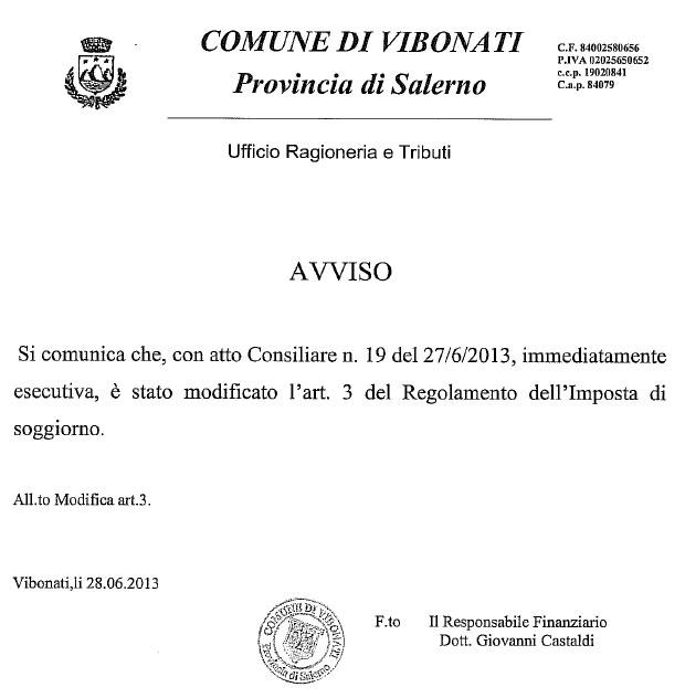 Comune di Vibonati: modifica art.3 del Regolamento Imposta di ...